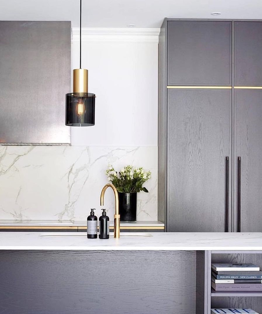 Studio Black Interiors On Instagram Grey With Inlays Of Brass Subtle Design Details Also Lovi Interior Design Kitchen Beautiful Dining Rooms Modern Kitchen