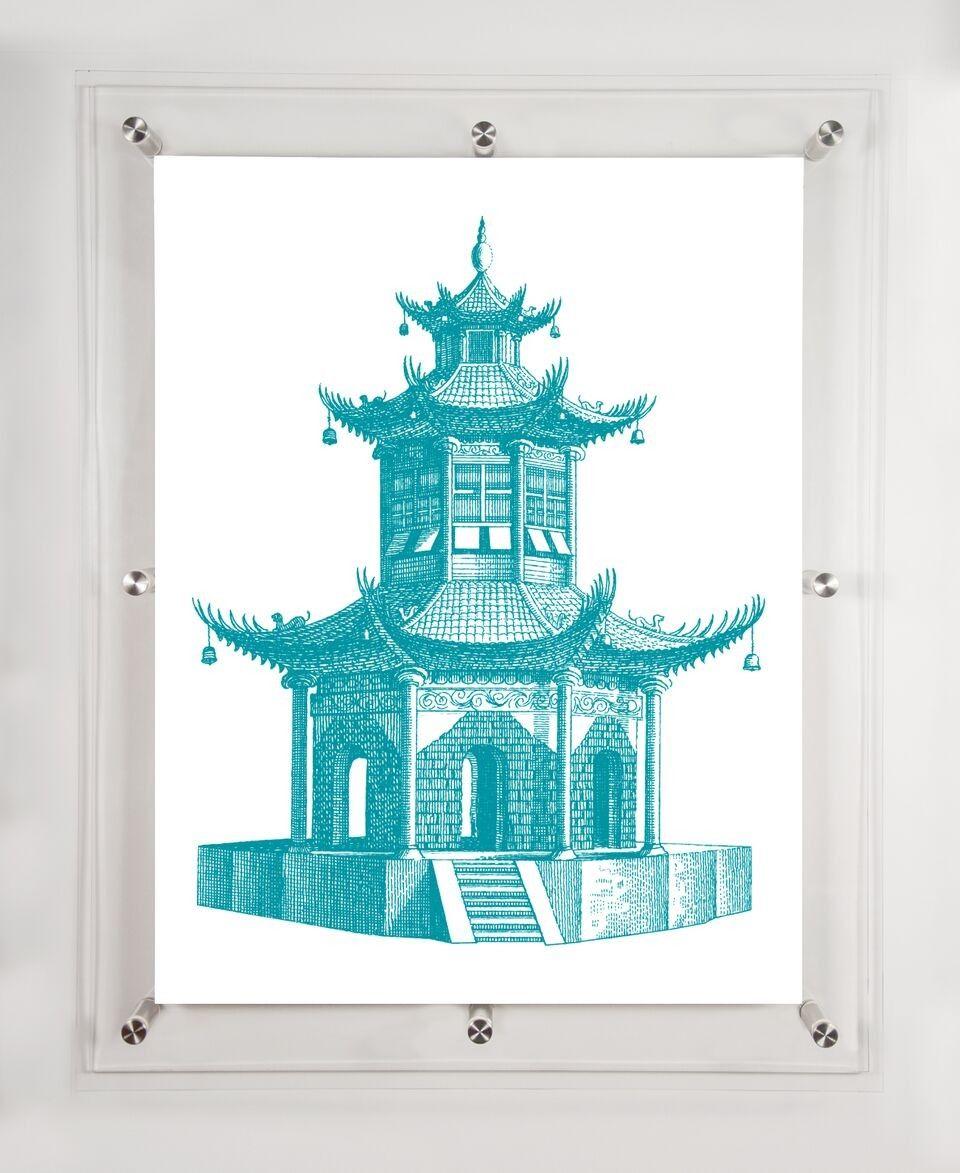 Acrylic framed pagoda print wall art variety of colors available