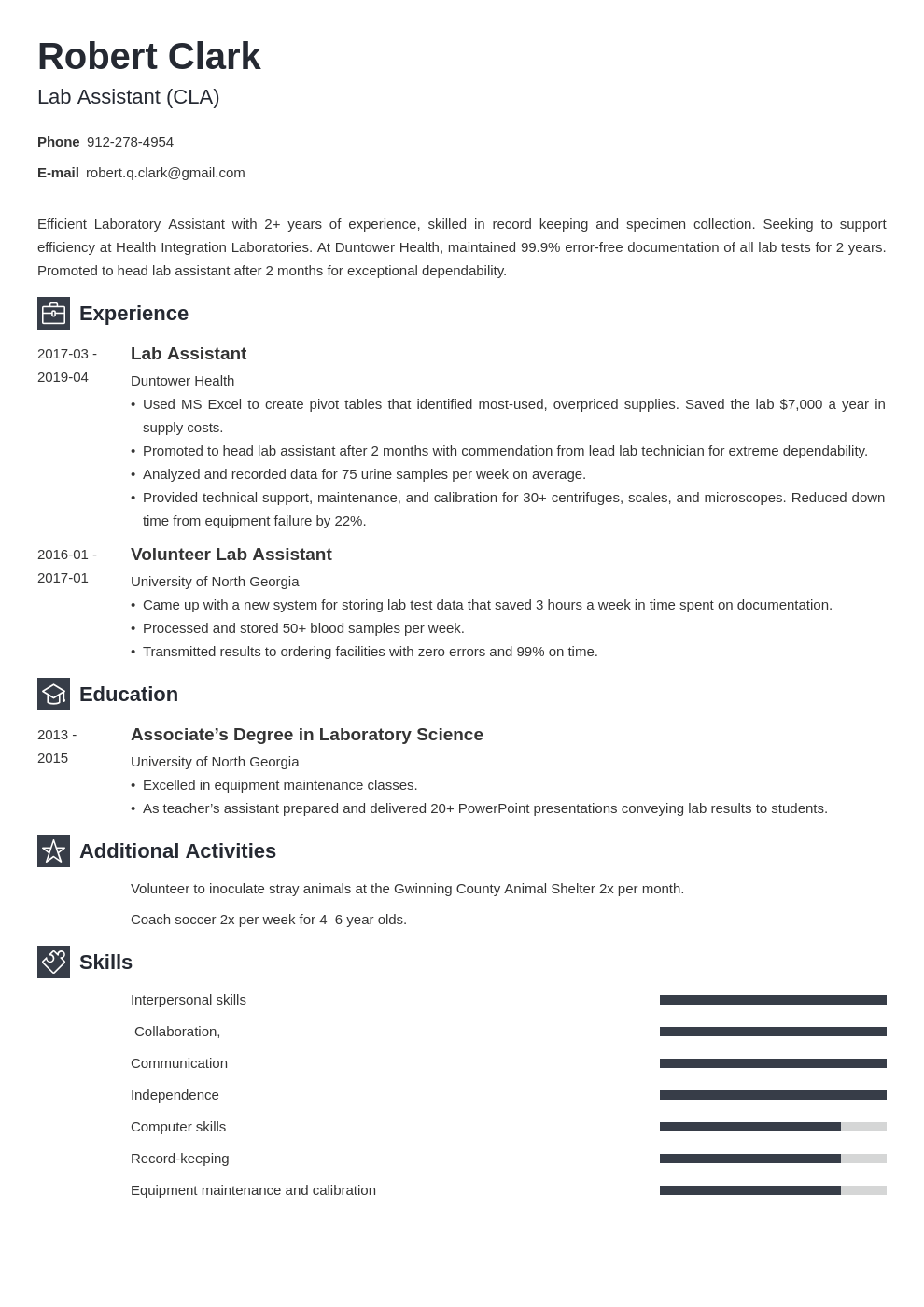 lab assistant resume example template newcast in 2020