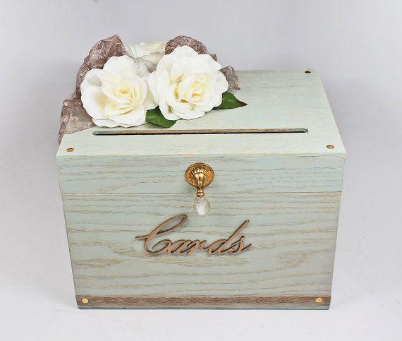 Vintage Card Box For Wedding Sage Green Wedding Rustic Card Box