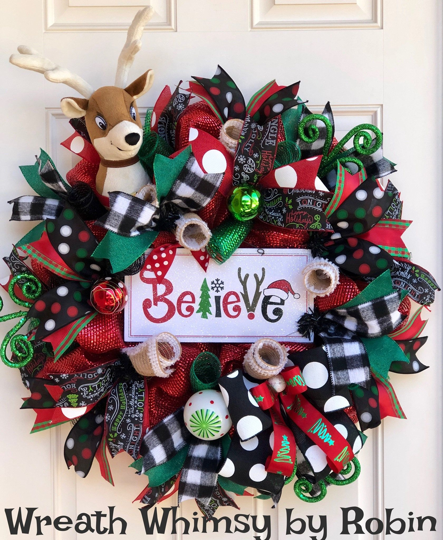 Whimsical Holiday Deco Mesh Reindeer Wreath in Red Emerald & Black