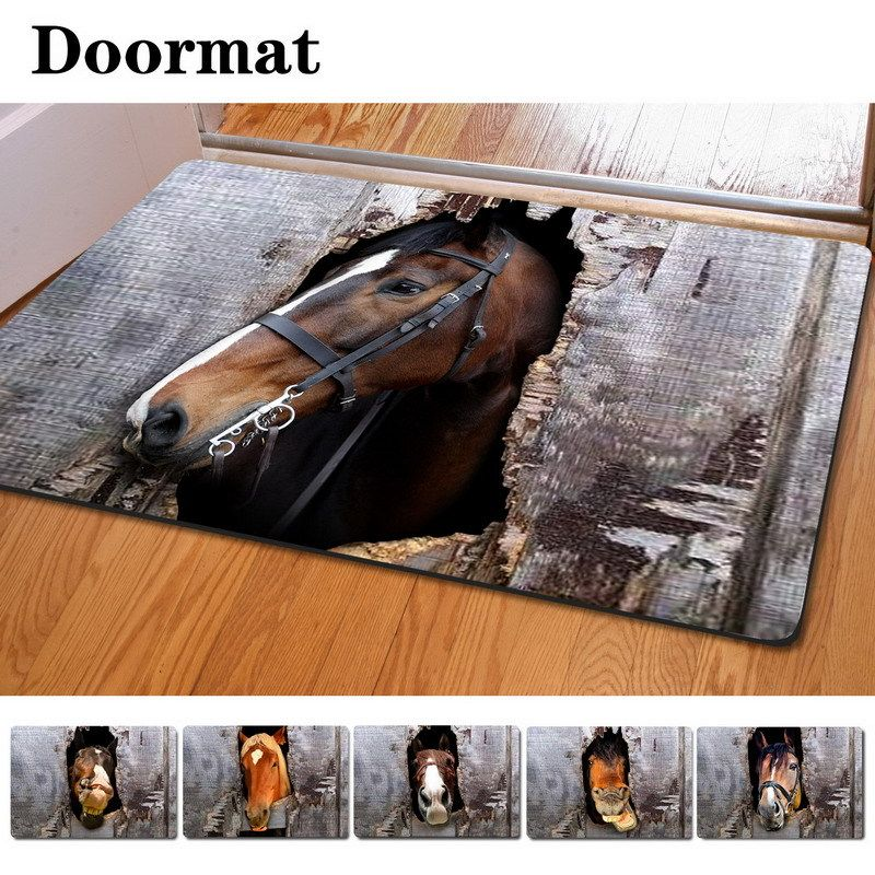 40*60cm Non Slip 3D Printed Doormat Many Horse Head Printing Rubber Door Mat  For Living Room/Bedroom Floor Mats Kitchen Rug