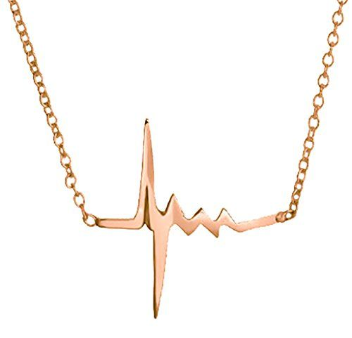 Heartbeat Pendant Necklace 925 Sterling Silver Rose Gold Tone Elegant Womens Jewelry >>> Read more at the image link.
