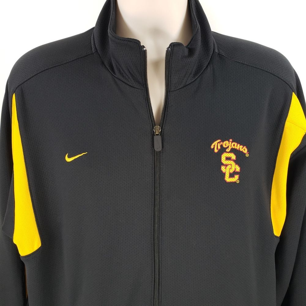 f2eb2b2d738 Nike USC Trojans Track Jacket XL Zipper Black Yellow Zip Up Embroidered Fit  Dry  Nike  CoatsJackets