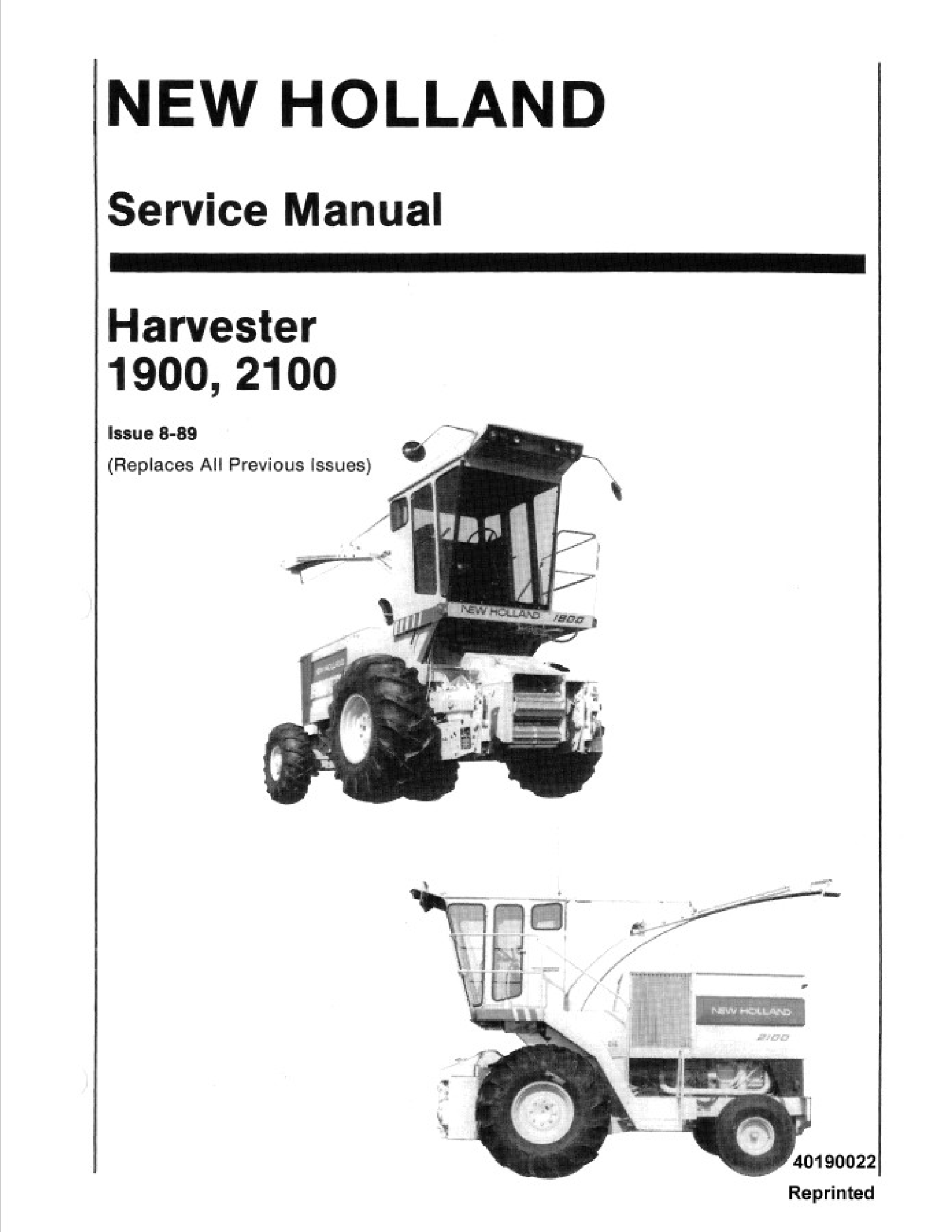 New Holland 1900 Harvester Manual In 2020 New Holland Owners Manuals Harvester