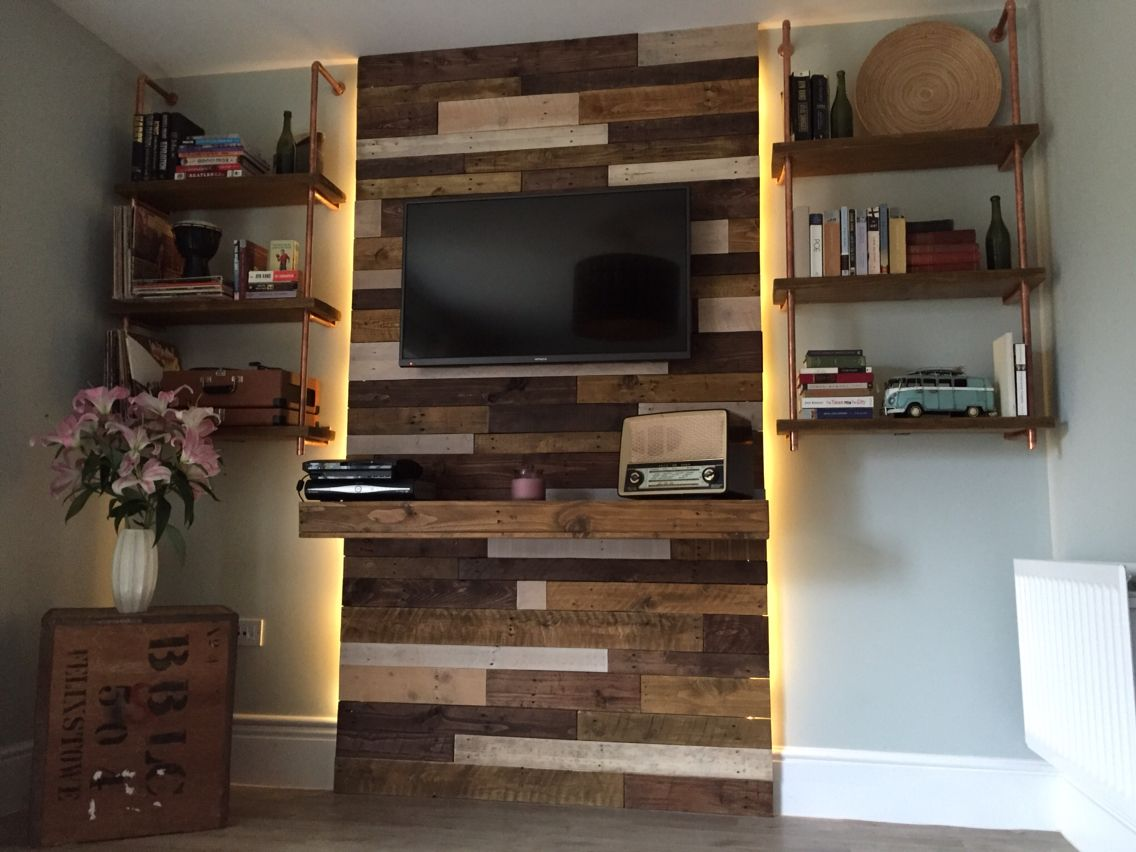 tv wall we made from reclaimed pallet wood and shelving from scaffold planks and 22mm copper. Black Bedroom Furniture Sets. Home Design Ideas