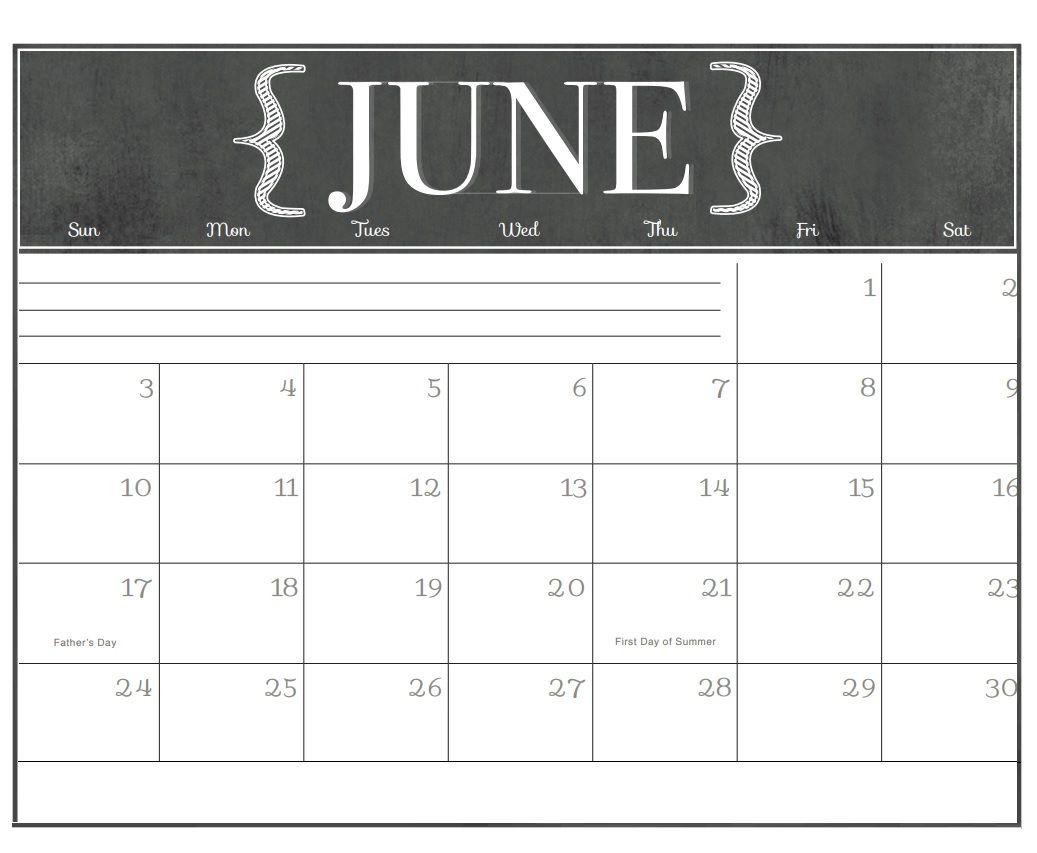 Chalkboard Calendar Printable