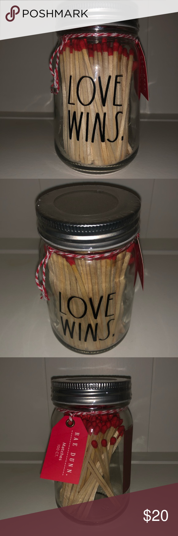 Nwt Rae Dunn Love Wins Jar Of 100ct Matches Dunn Small Glass Jars Jar