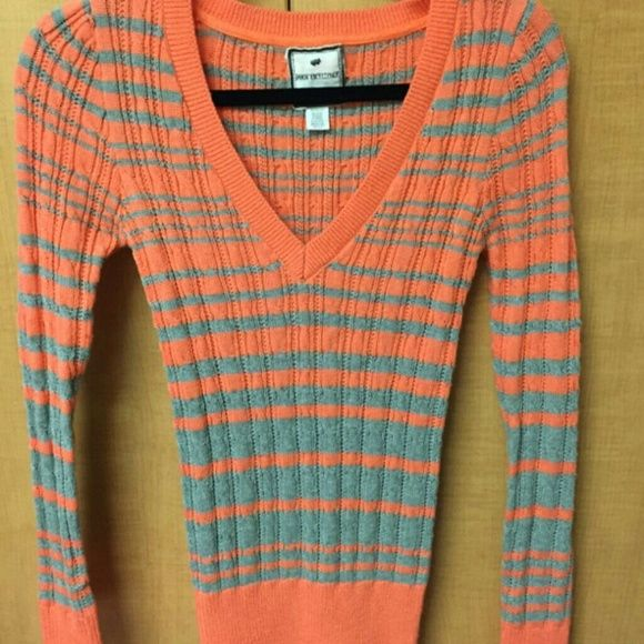 Stripe, Coral and Grey, Cotton Spandex Sweater Coral and Grey ...