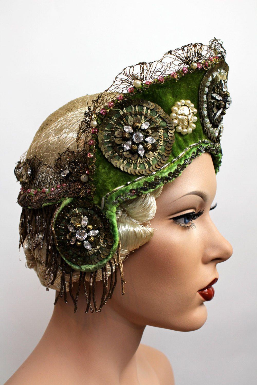 Edwardian Russian Jeweled Cloche Headdress Art Nouveau Costume Hat 1901  1920 S  44f478181e42