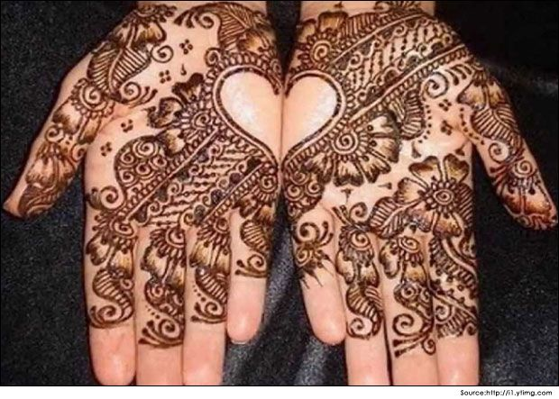 Mehndi For Thin Hands : Arabic mehndi design for hands in love shape