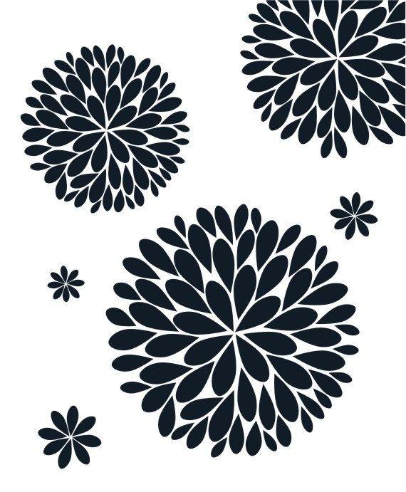 The Original Dahlia Flower Vinyl Wall Decal Flower Decal Etsy Flower Stencil Stencil Designs Stencils