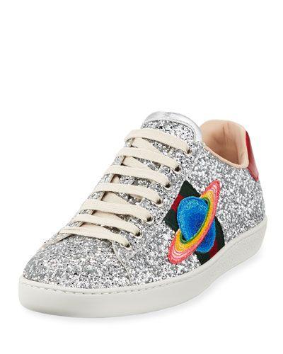 Gucci Ace Saturn Glitter Low Top Sneaker Gucci Shoes Gucci Ace Sneakers Top Sneakers Top Sneakers Women