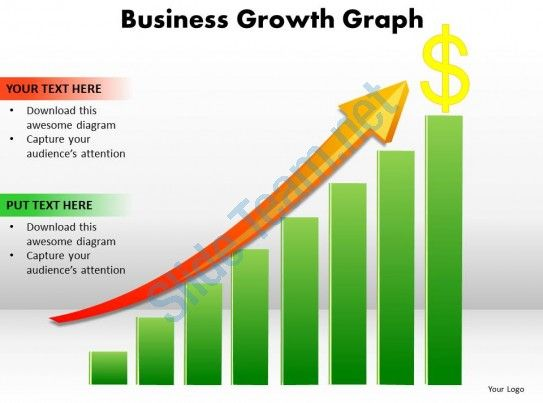 Business Growth Graph Bar Chart With Arrow Going Up And Dollar
