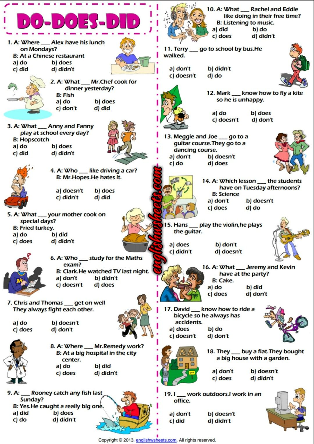 Auxiliary Verbs Do Does Did Multiple Choice ESL Exercise – Multiple Choice Worksheets