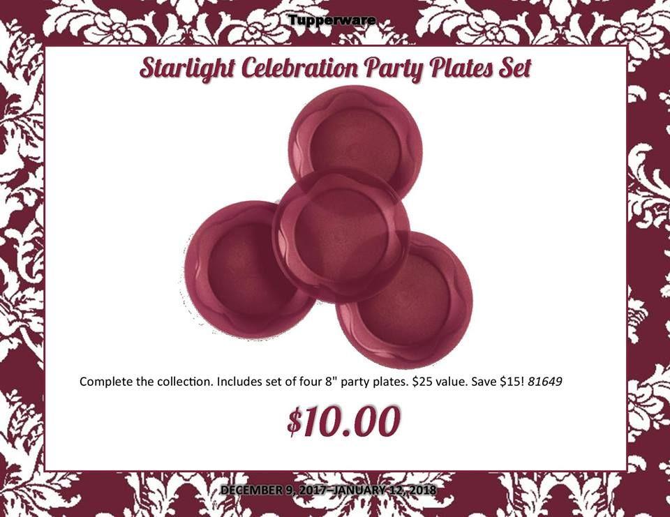 Tupperware Starlight Celebration Party Plates Set