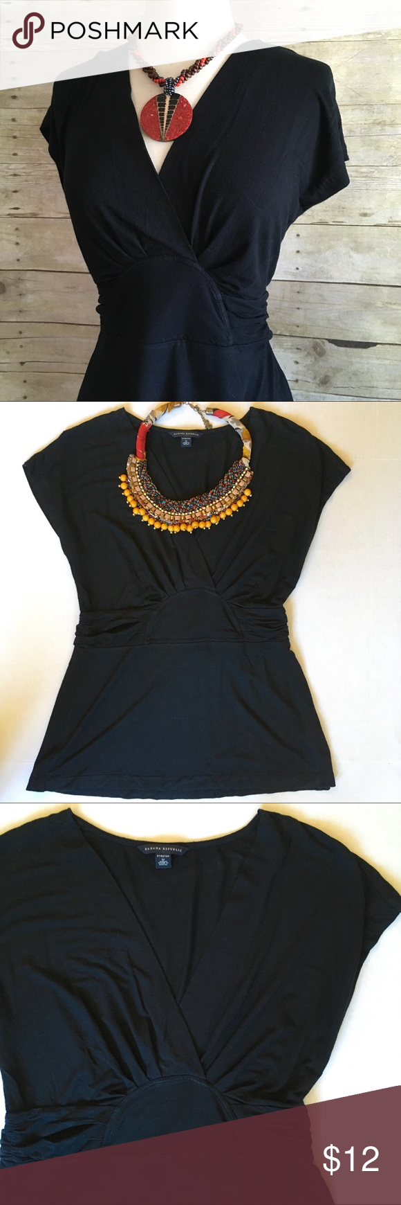 """Banana Republic wrap front black top Faux wrap front with accentuated empire waist. So soft and stretchy. A classic piece that can be easily dressed up or down. 95/5 modal, spandex. Gently loved. 27""""L. 18.5"""" bust laying flat. Size medium. Banana Republic Tops"""