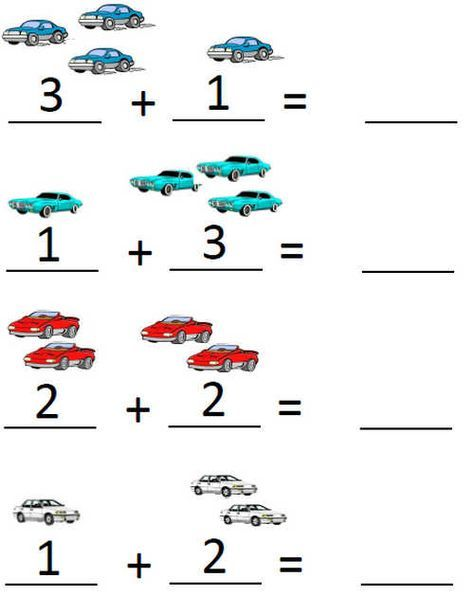 Pre-k addition worksheets: adding with pictures up to 5 ...