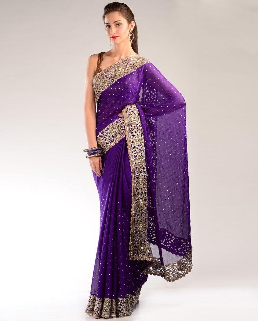 Royal Purple Sari with Stylized Border   Fashion   Pinterest