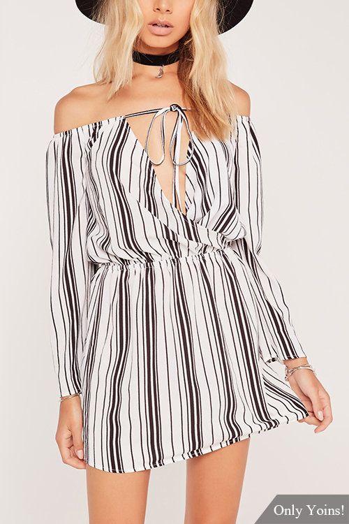 e642d0a2da9 Off Shoulder Wrap Top Black Vertical Stripes Mini Dress -YOINS ...