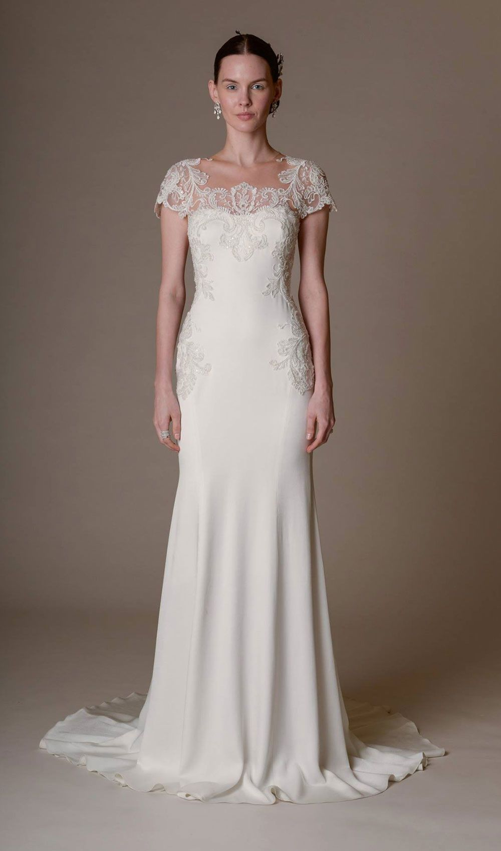 Try This Silk Crepe Mermaid Wedding Dress With Key Hole Back And Embroidered Thread Work Applique From Marchesa At Schaffers In Scottsdale Arizona