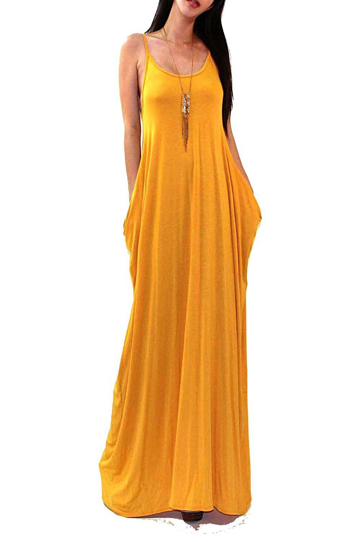 82b0055241 VIVICASTLE Batwing Oversized Loose Plain Summer Sleeveless Pocket Long Maxi  Dress (Medium