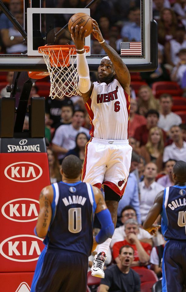 factory authentic 87c0b 131e4 LeBron gettin  it done HEAT defeat the Dallas Mavericks James 32 points, 12  rebounds and 9 assists.