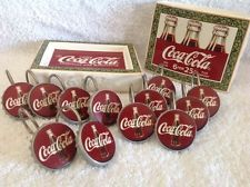 COCA COLA BATHROOM SET TOOTHBRUSH HOLDER, SOAP DISH, 12 SHOWER CURTAIN EUC