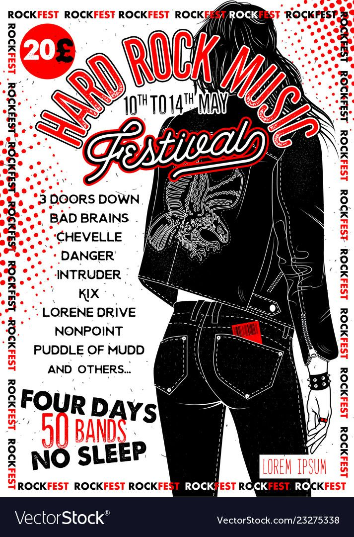 Hard Rock Festival Poster With Girl Vector Image On In 2020