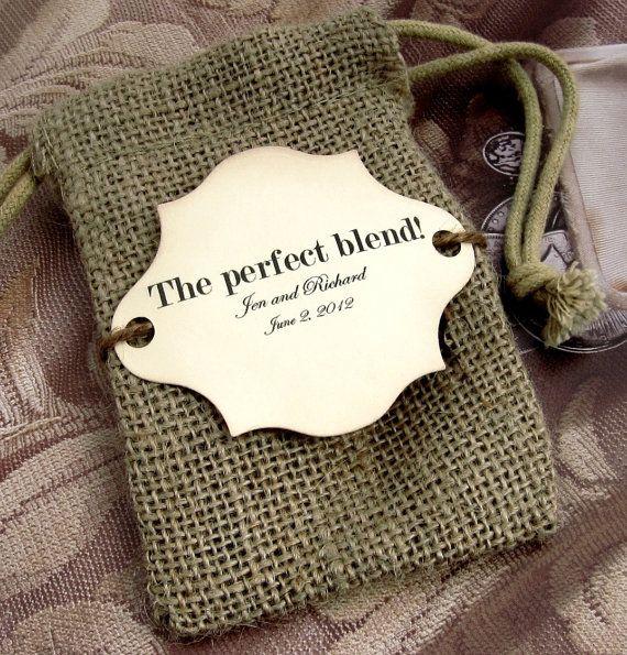 """Burlap Wedding Favor Bags  """"The perfect blend"""" could make tea or spice blends as favors!! @Renée Krieg"""