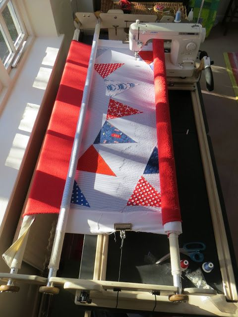 Bunting Flags Quilt On The 6 Foot New English Quilter Frame From Machine  Quilter In The