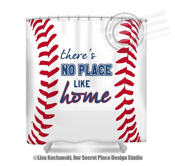Theres No Place Like Home Baseball Shower Curtain Sports Bathroom Decor By