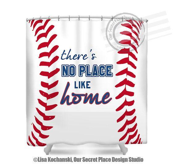 There s No Place Like Home Baseball Shower Curtain Sports Bathroom Decor  Baseball Decor Baseball Bathroom by. 12 Shower Curtain Hooks  All Sports Football  Basketball  Soccer