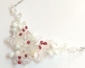 Crystal Wedding Necklace Bridal Jewelry bridal by FlowerRainbow