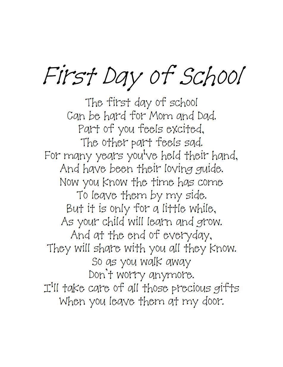 Back To School Poempdf Beginning Of Kindergartenschool Pinte