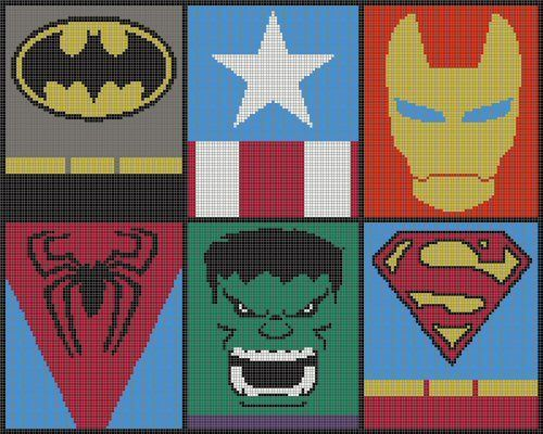 Logo Knitting Pattern : Superhero logo charts crocheting heroes and knitting