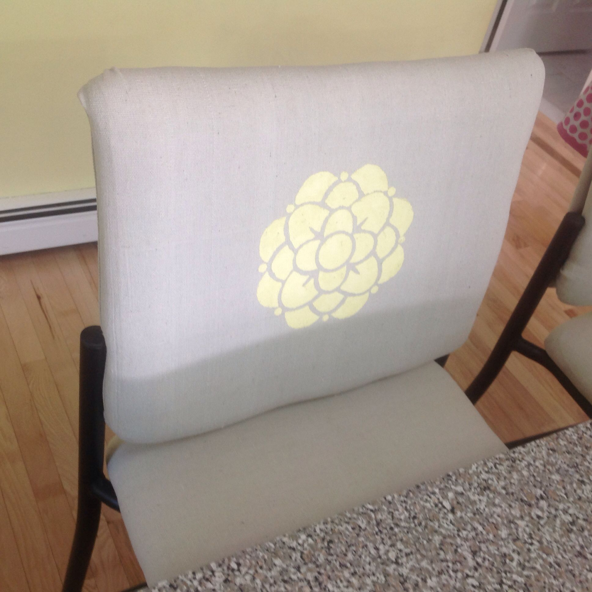 Drop cloth and stenciled stool redo