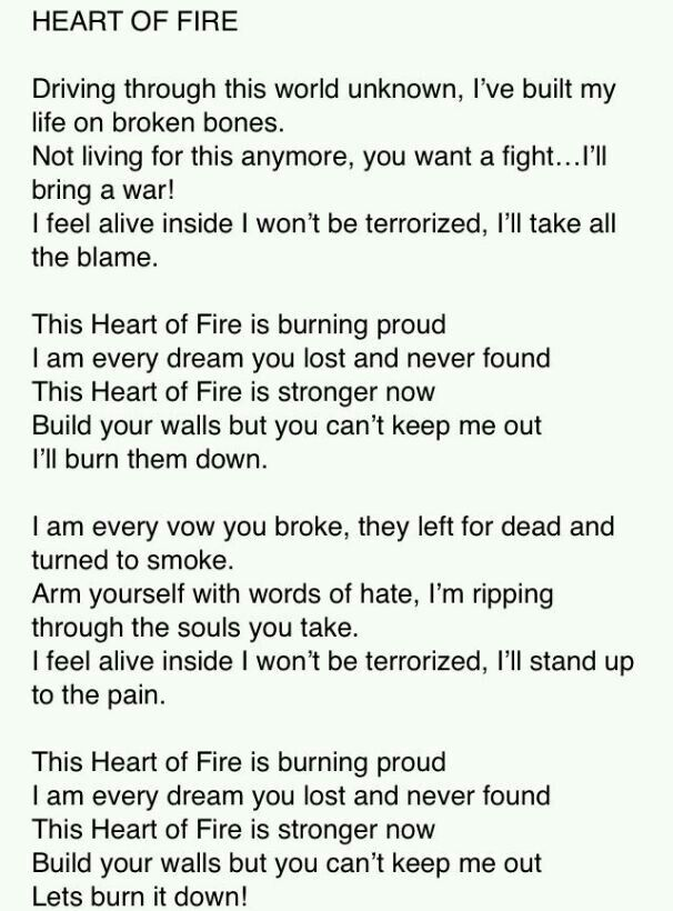 Lyric fire rap lyrics : Heart of Fire by Black Veil Brides. Also, Justin Cordle from We As ...