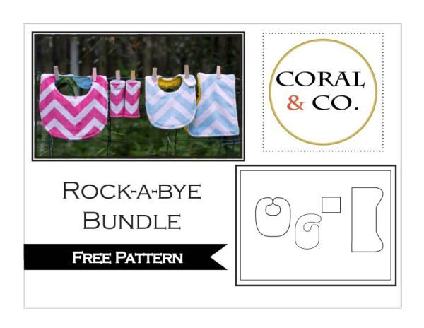 Free Baby Bib Pattern The Rock-a-bye Bundle - includes baby bib pattern in two sizes, contoured burp cloth, and car seat strap covers.
