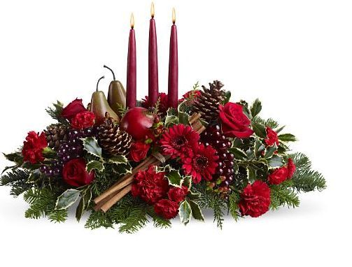 Christmas Flower Arrangements Christmas Arrangement With Fruits And Red Candle Christmas Flower Arrangements Christmas Floral Arrangements Christmas Flowers