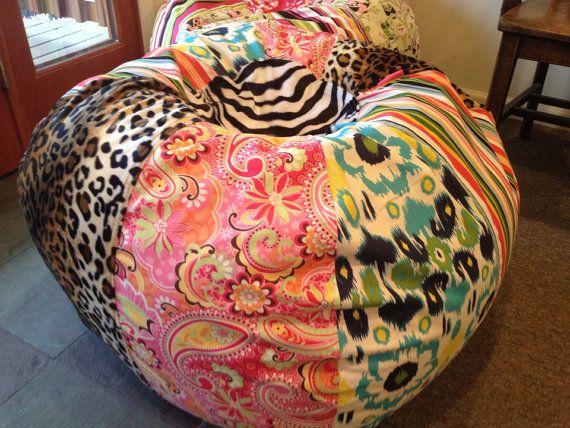 Funky Bohemian Paisley Ikat Zebra And Leopard Bean Bag Chair