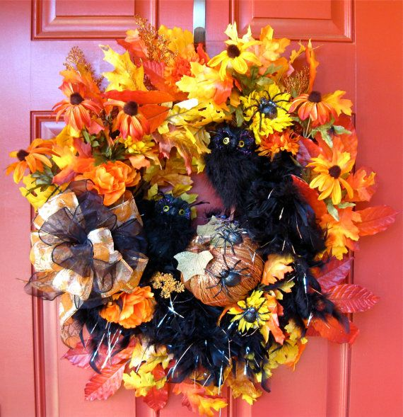 Spooky Fall Halloween Owl Wreath, by IrishGirlsWreaths on Etsy, SOLD!