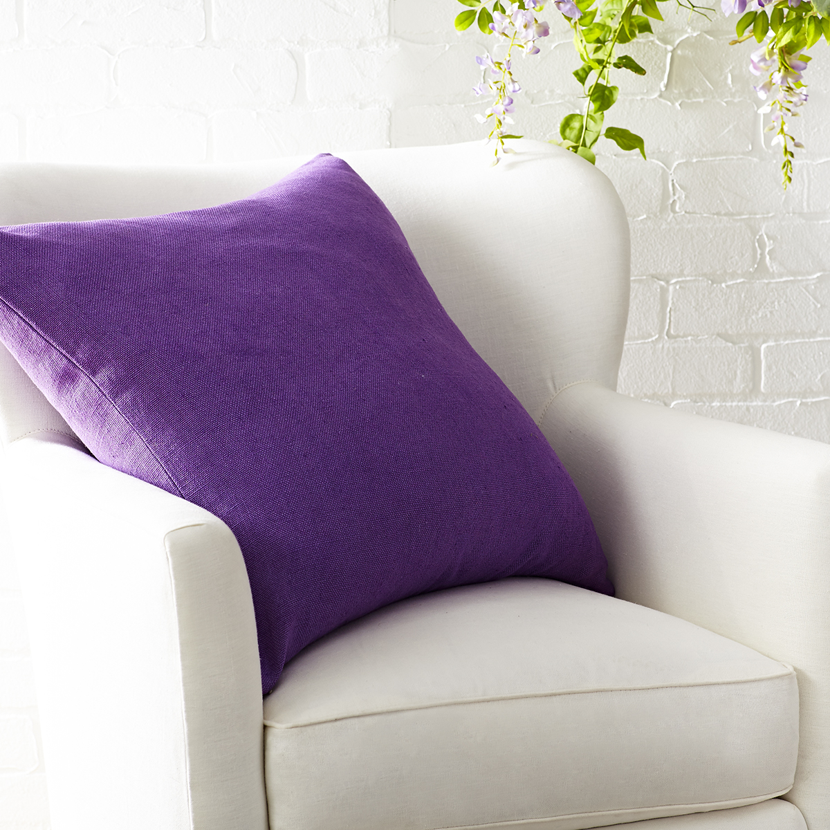 European Flax Linen Pillow Cover – Wisteria Square