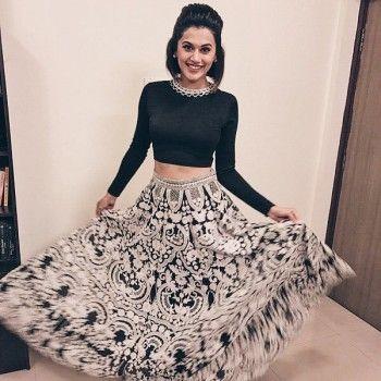 f91993023910 Taapsee Pannu Crepe Off-White & Black Printed Semi Stitched Bollywood Designer  Lehenga - T1176