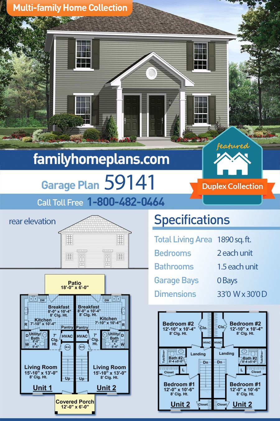 Traditional Style Multi Family Plan 59141 With 4 Bed 4 Bath Duplex House Plans Multi Family Homes Duplex House