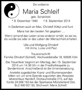 Www Wn Trauer De Gedenkseite Von Maria Schleif Traueranzeigen Trauer Kondolenz