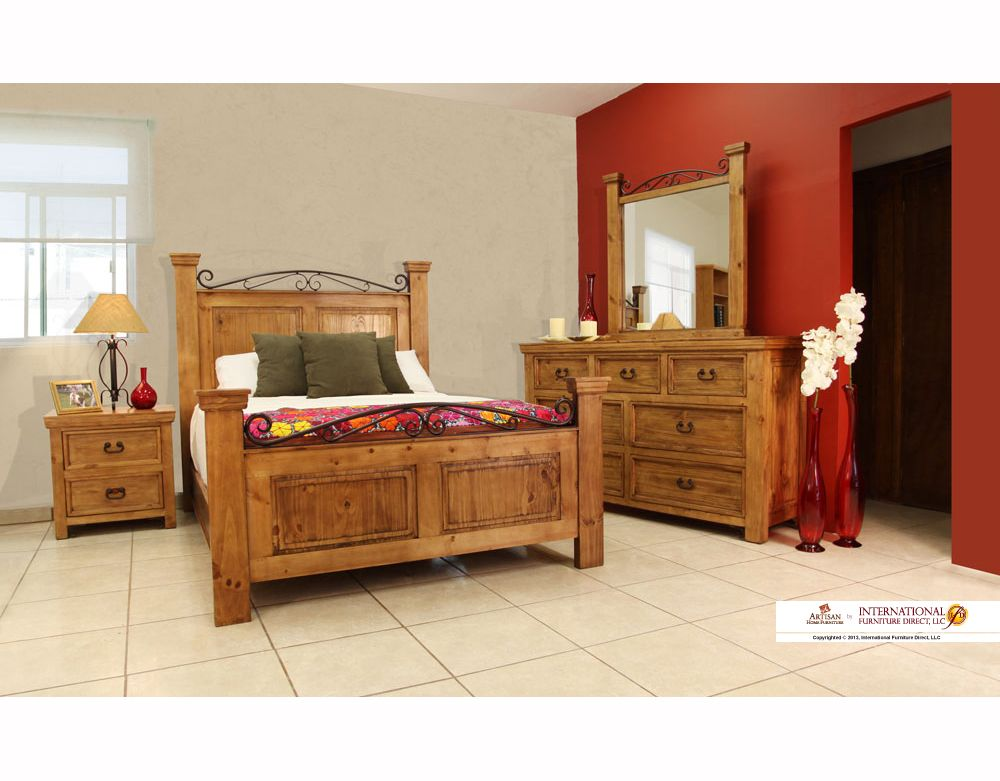 Features 1 Solid Pine Construction 2 Solid Metal Accents 3 Sealed Hand Wax Finish 4 Case Rustic Bedroom Furniture Rustic Bedroom Furniture Sets