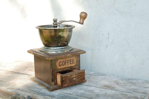 Vintage Wooden Coffee Grinder Vintage houseware by semivint