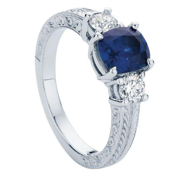 Bluebell Engraved White Gold Engagement Ring