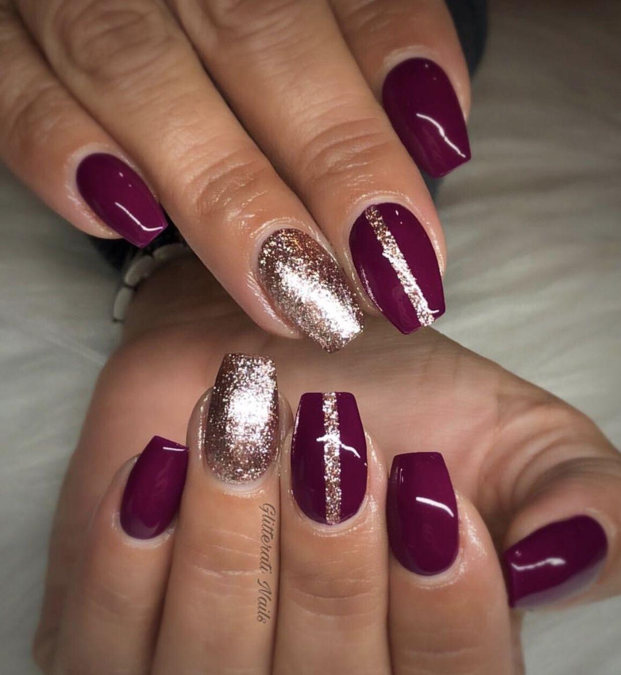 pretty fall winter nails. burgundy